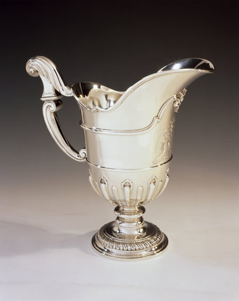 Silver ewer by David Willaume , 1742 (DUN.S.485) part of the silver collection at Dunham Massey, photographed for the Country House Silver book.