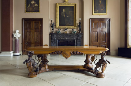 The Entrance Hall at Ickworth, Suffolk, with the wooden table with carved legs depicting the Hervey snow leopard