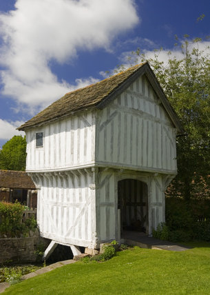 The timber-framed Gatehouse over the moat to Lower Brockhampton House, the medieval manor house on the Brockhampton Estate in Worcestershire