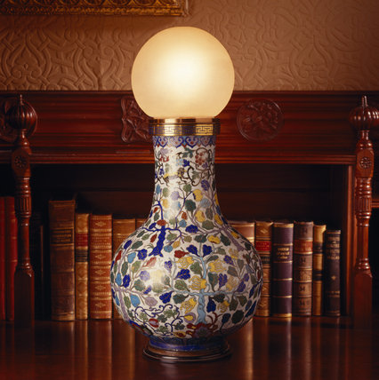 One of the large cloisonne enamel vases in the Library which were converted from oil lamps in 1880 and connected to armstrong's hydro-electric generator