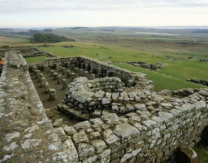 Housesteads Fort along Hadrian's Wall, the South Granary, stone piers supported a wooden ventilated flooring for the storage of grain