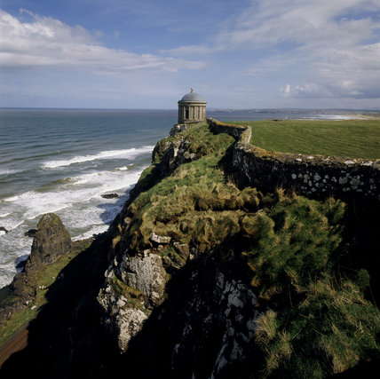 Mussenden Temple, perched on the edge of steep cliffs at Downhill, Co Londonderry, Northern Ireland
