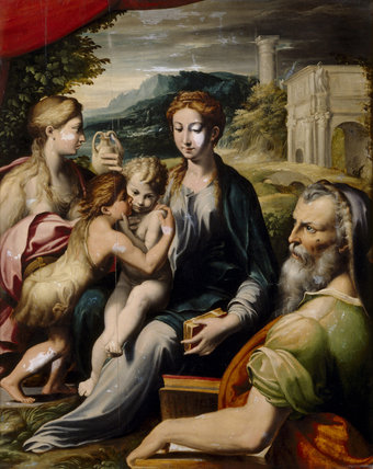 THE MADONNA AND CHILD WITH THE INFANT BAPTIST, THE MAGDALEN AND ST ZACHARIAS purchased by William Gibbs as by Parmigianino,at Tyntesfield