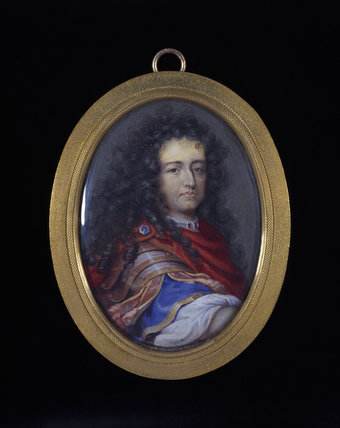 UNKNOWN FRENCH NOBLEMAN, a portrait miniature of the French School, c.1680-90, at Florence Court, Co Fermanagh.