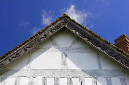 Detail of the front gable at Lower Brockhampton House, the medieval manor house on the Brockhampton Estate in Worcestershire