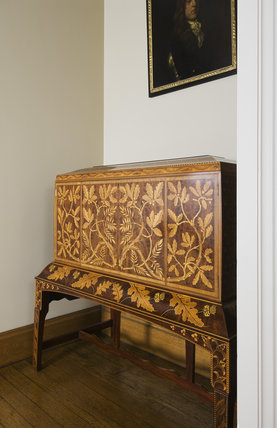 Marquetry secretaire, designed by George Jack and made by Morris & Co. in 1906, on the Half Landing at Ickworth, Suffolk.
