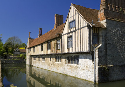 The South Front at Ightham Mote, Sevenoaks, Kent, a fourteenth-century moated manor house