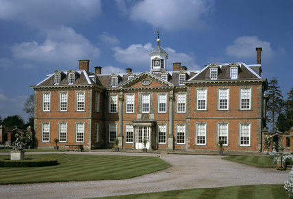 The Entrance Front of Hanbury Hall. Hanbury is a late example of the post-Restoration country house in brick with stone dressings. The date 1701 is carved above the front door.