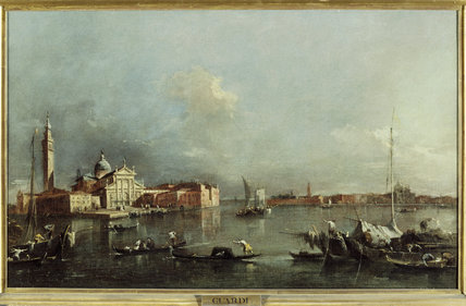 VIEW OF SAN GIORGIO,VENICE, by Francesco Guardi, 1712- 1793, in the Breakfast Room at Penrhyn Castle, depicting San Giorgio and the church of the Redentore across the lagoon