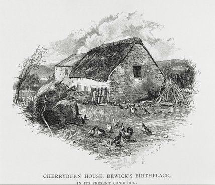An engraving, THOMAS BEWICK'S BIRTHPLACE, CHERRYBURN, by Collins, seen from the farmyard with chickens, at Cherryburn