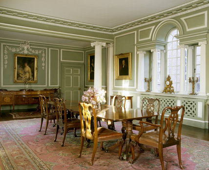 Merveilleux The Dining Room Taken From The South West Corner Showing The Venetian  Window, C.18th Cumberland Dining Table And Chippendale Chairs At Croft  Castle.