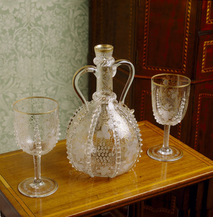 Glass goblets and decanter in the Drawing Room