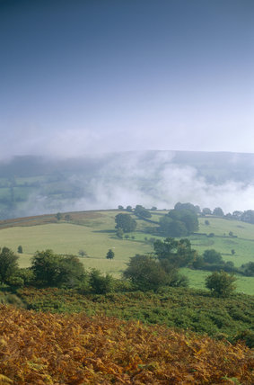 View from Sugar Loaf over mist filled valley