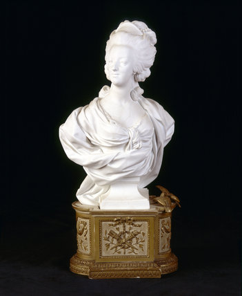 C19th Sevres bust of Marie Antoinette, in biscuit porcelain in the Library at Upton House