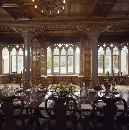Medium View Of Dining Room At Tyntesfield Towards Lancet Windows With  Carved Stone Gothic Heads, Carved Oak Panelled Walls With Cupboards  Underneath ...