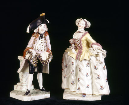 Close view of Bow porcelain figures of Henry Woodward as