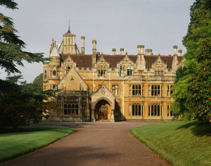The East Front of the house and drive of Tyntesfield, the Victorian Gothic Revival house designed by John Norton in tinted Bath Stone between 1863 and 1866