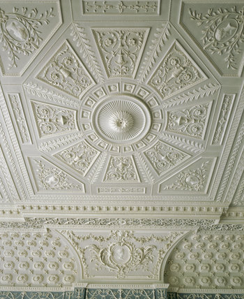 Detail Of The Plaster Ceiling With Classical Motifs In The Saloon