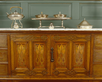 The Dining Room Side Table May Be By Llewellyn Rathbone, With Muffin Dish  At Standen, West Sussex