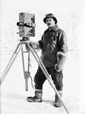 Herbert Ponting with his cinematograph