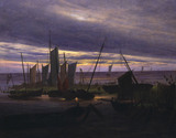 Ships in the harbour in the evening