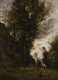 C. Corot / Nymph playing with a Cherub