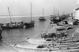 View of boats moored and ...