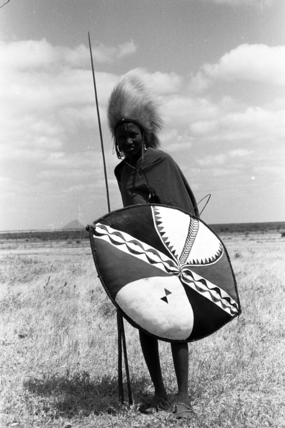 Maasai moran with a shield