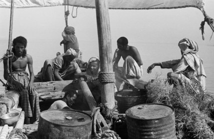 Arab men on board a dhow