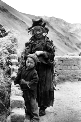 Elderly woman and child