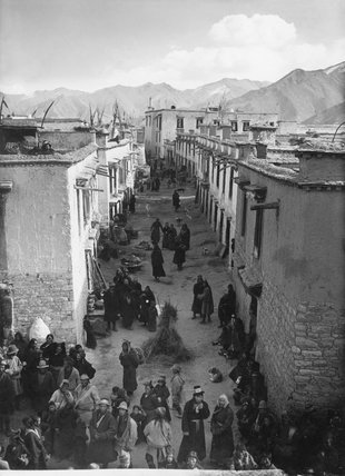 Street in Lhasa during Palden Lhamo ceremony