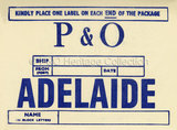 P&O baggage label for Adelaide