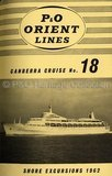 CANBERRA shore excursions brochure 1962