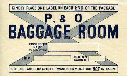 P&O Baggage Room Label