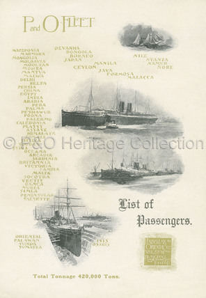 P&O Passenger list for EGYPT, 1908