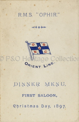 Christmas Day Dinner Menu from OPHIR, 1897