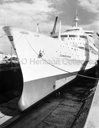 Bow view of CANBERRA in dry-dock