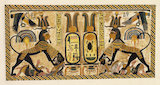 Tutankhamun as sphinx trampling enemies, painting