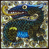 Tile with dragon design, by William De Morgan & Co