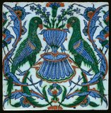 Iznik tile with parrots, Ottoman