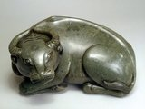 Chinese carved jade recumbent buffalo