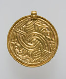 Anglo-Saxon gold bracteate with lacertine monsters