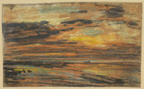 Sunset on the Beach, by Boudin