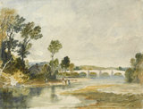 River scene with a bridge in the distance, by Turner