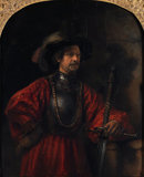 Portrait of a man in military costume, by Rembrandt (attrib)