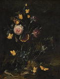 Flowers, insects and reptiles, by Otto Marseus van Schrieck