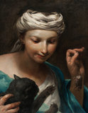 Girl with a cat, by Giuseppe Maria Crespi