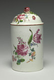 Tobacco jar and cover with floral sprays, Mennecy Factory