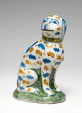 English Delftware dog shaped money box