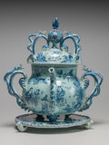 English Delftware posset pot with cover and stand